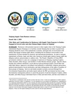 DHS Issues Xinjiang Supply Chain Business Advisory